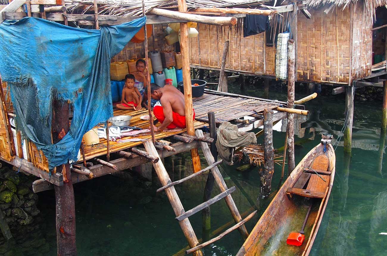 A family home in the sea nomad village, Mantigola, in Sulawesi.