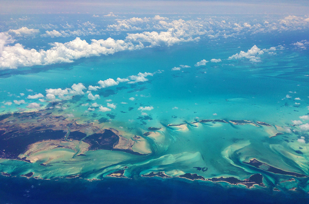 Approaching the Turks and Caicos Islands by air.