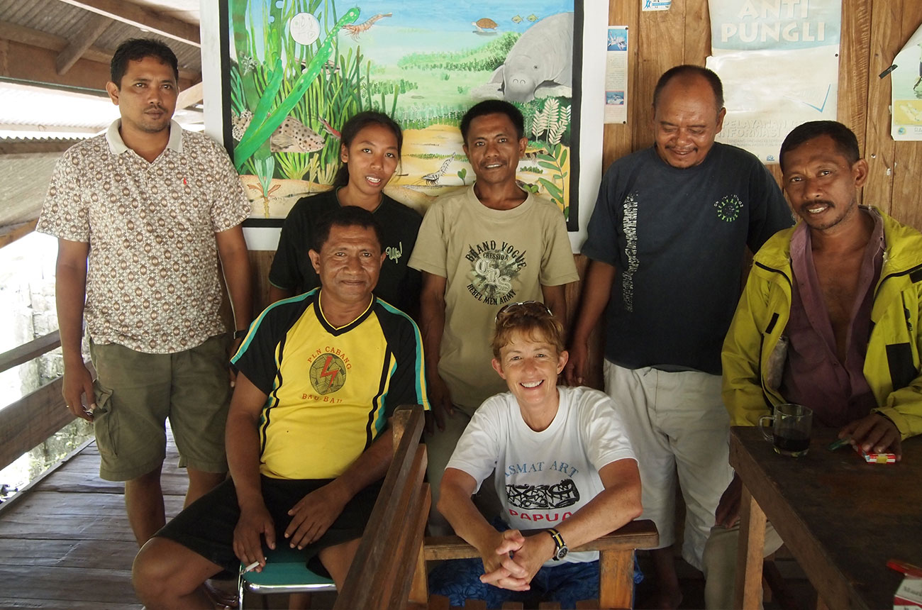 Cunningham with a fishermen's collective on the island of Kaledupa in Sulawesi.
